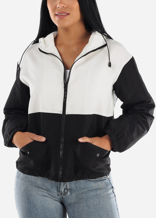 White Colorblock Windbreaker Jacket