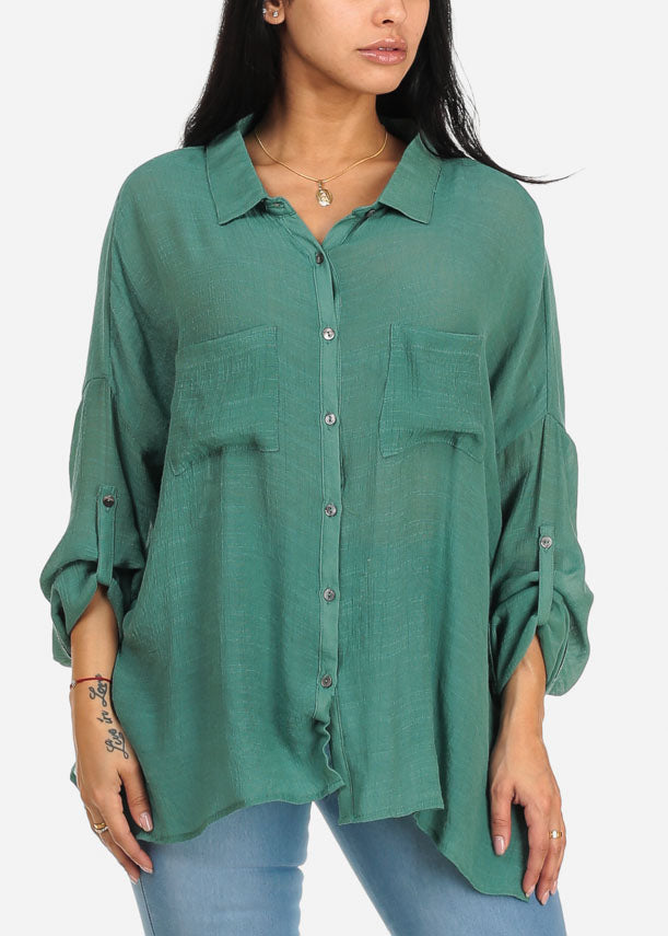 Trendy Jade  Button Up Top