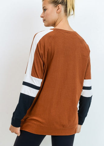 Image of Cotton Colorblock Brown Pullover