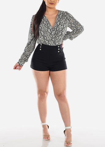 Image of Sexy Trendy Snake Skin Print Long Sleeve Lightweight Bodysuit For Women Ladies Junior Party Clubwear Night Out