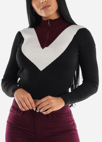 Image of Half Zip Up Ribbed Black Sweater