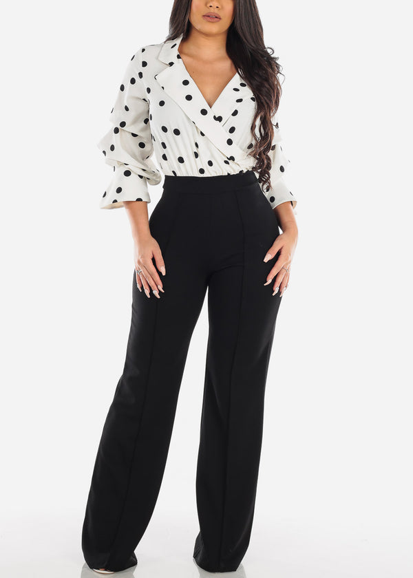 Elegant White & Black Polka Dot Jumpsuit