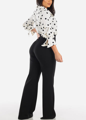 Image of Fancy Elegant Quarter Sleeve White & Black Polka Dot Jumper Jumpsuit