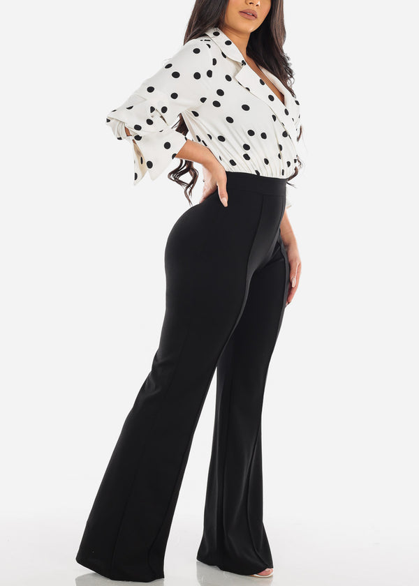 Fancy Elegant Quarter Sleeve White & Black Polka Dot Jumper Jumpsuit