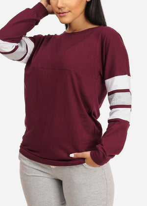 Casual Long Sleeve Maroon Sweatshirt