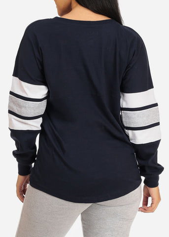 Casual Long Sleeve Navy Sweatshirt
