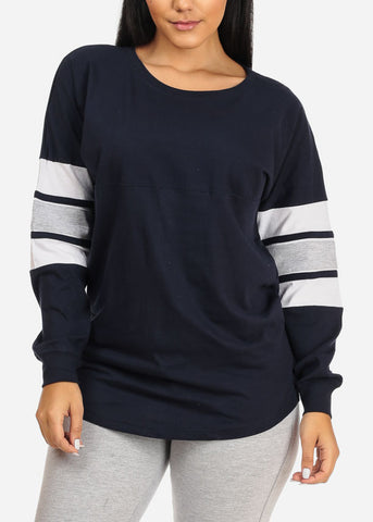 Image of Casual Long Sleeve Navy Sweatshirt