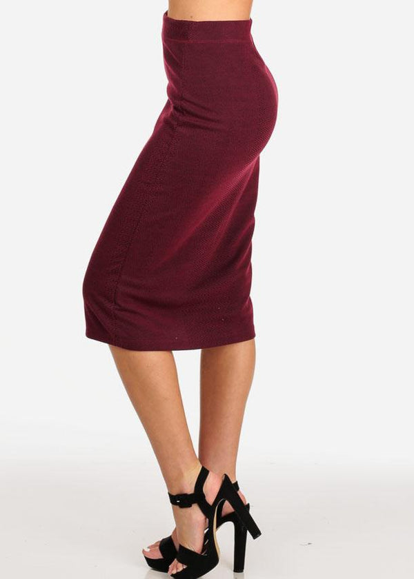Printed Wine Midi Skirt
