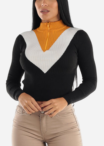 Image of Half Zip Up Ribbed Black & Yellow Sweater