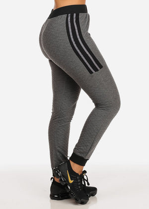 High Rise Stripe Detail  Dark Grey Jogger Pants
