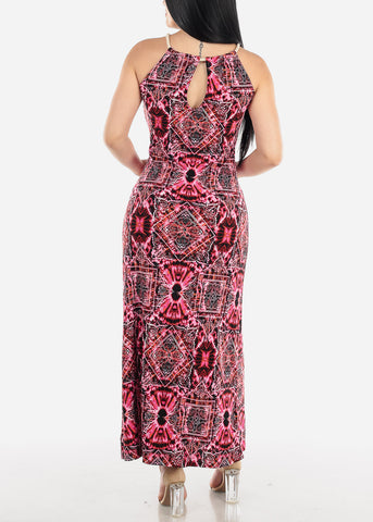 Image of Sleeveless Printed Pink Maxi Dress