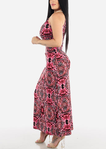 Sleeveless Printed Pink Maxi Dress