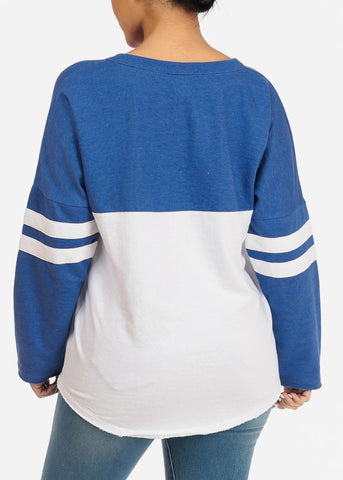 Image of Blue Long Sleeve Pullover Sweatshirt