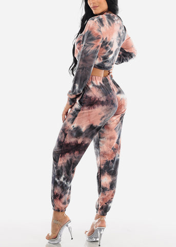 Coral Tie Dye Crop Top & Jogger Pants (2 PCE SET)