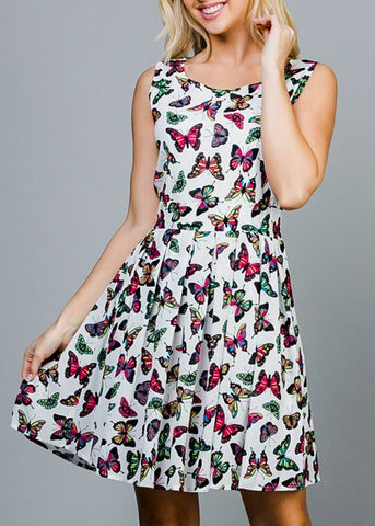 White Butterfly Printed Dress