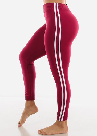 2 Stripe Burgundy Wide Waist Leggings