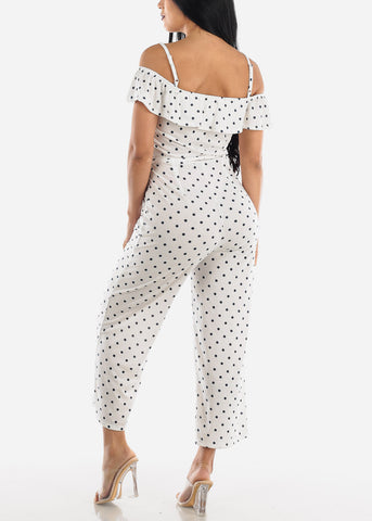 White & Navy Polka Dot Jumpsuit