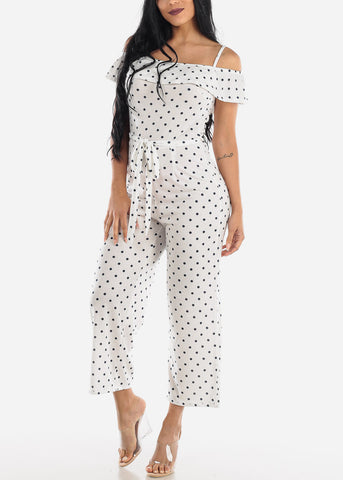 Image of White & Navy Polka Dot Jumpsuit
