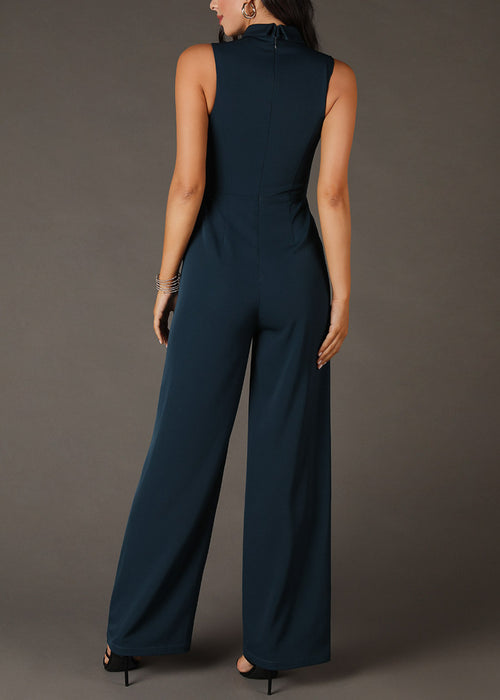 Shirt Collar Buttoned Teal Jumpsuit