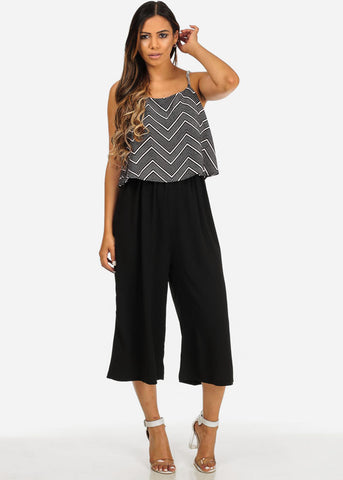 Image of Black Spaghetti Strap Cropped Jumpsuit
