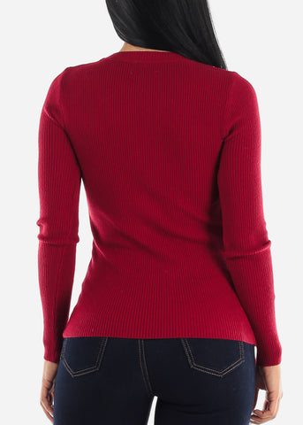 Image of Cozy Classic Ribbed Red Sweater