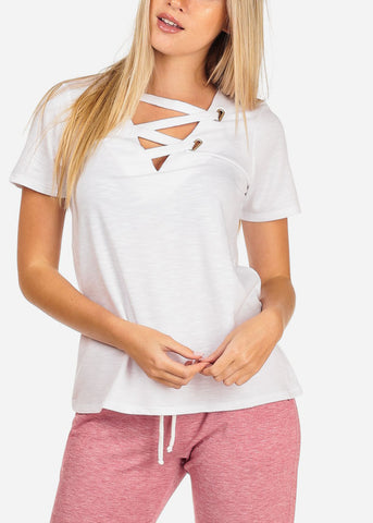 Women's Junior Casual Trendy Strappy Neckline Stretchy Solid Pure White Short Sleeve Top