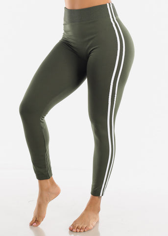 Image of 2 Stripe Olive Wide Waist Leggings
