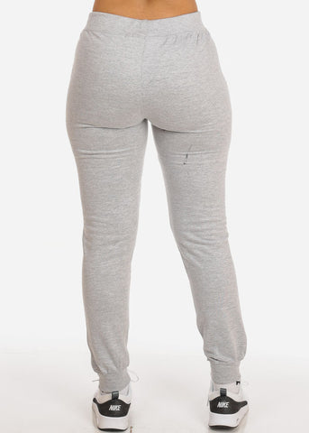 Grey High Rise Drawstring Waist Jogger Pants