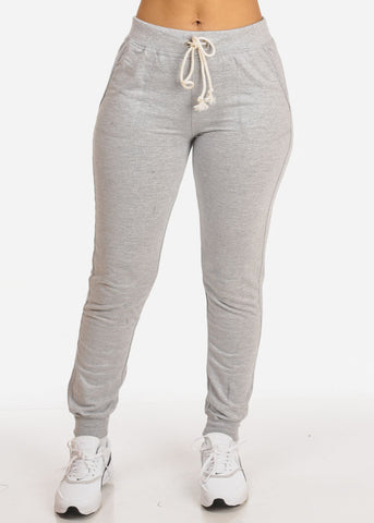 Image of Grey High Rise Drawstring Waist Jogger Pants