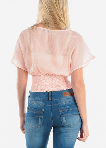Women's Junior Ladies Summer Brunch Beach Short Sleeve Trendy Light Linen Pink Shirring Stretchy Elastic Waist Crop Top