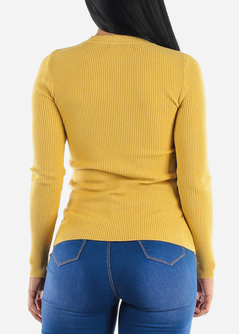 Image of Cozy Classic Ribbed Mustard Sweater