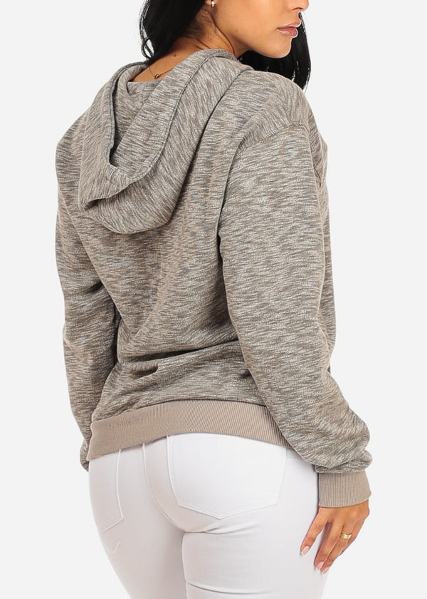 Lace Up Neckline Kangaroo Pocket Grey Sweater with hood