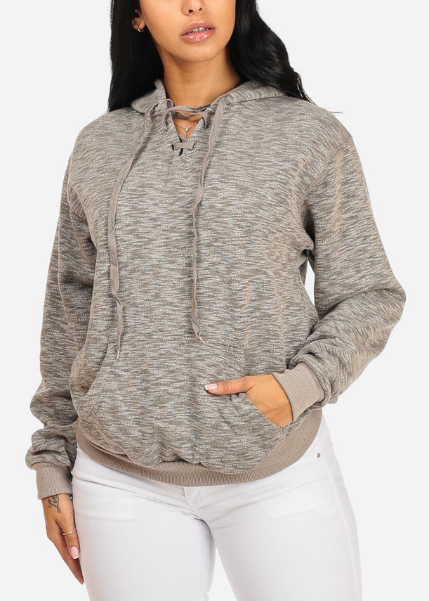Cute Long Sleeve Lace Up Neckline Kangaroo Pocket Stretchy Grey Sweater W Hood