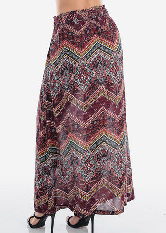 Image of Women's Junior Ladies Cute Must Have Stylish Multicolor And Print High Waisted Maxi Skirt