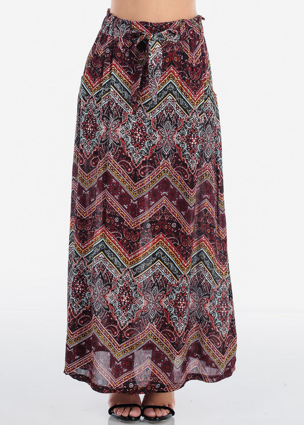 Multicolor Print Maxi Skirt