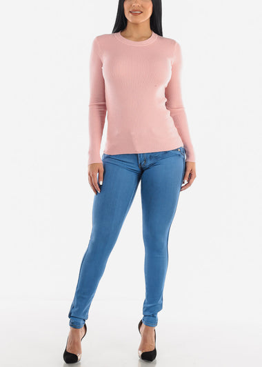 Cozy Classic Ribbed Pink Sweater