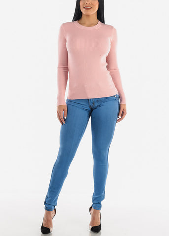 Image of Cozy Classic Ribbed Pink Sweater