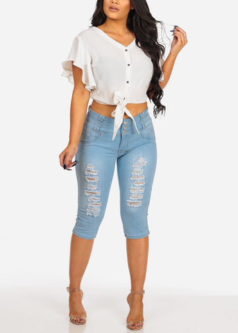 Image of Women's Junior Ladies Stylish Beach Vacation Lightweight Ruffle Detail Front Tie White Crop Top