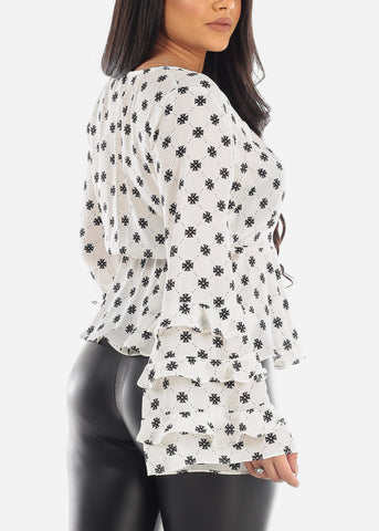 Image of Printed White Peplum Blouse