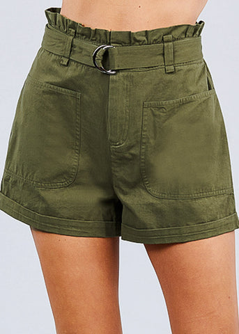 Image of Cotton Paperbag Olive Shorts
