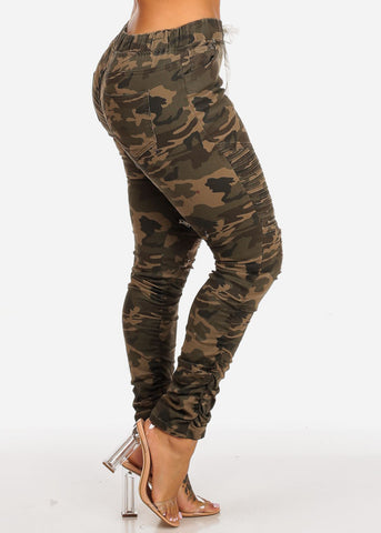 Mid Rise Distressed Moto Camouflage Joggers