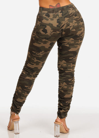 Image of Mid Rise Distressed Moto Camouflage Joggers