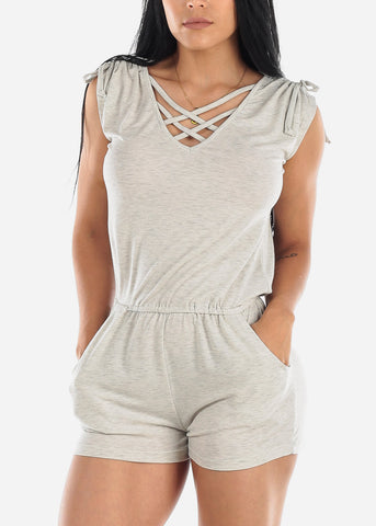 Strappy Neckline Light Grey Romper