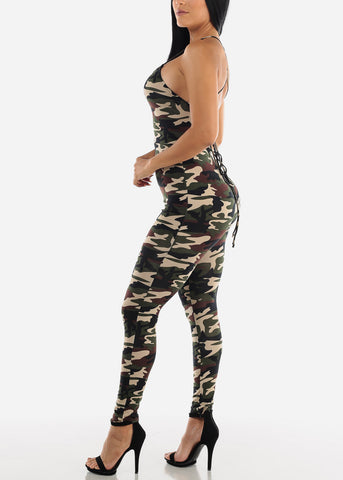 Image of Sleeveless Olive Camouflage Jumpsuit