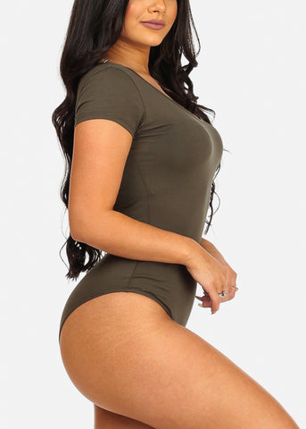 Image of Trendy Sexy Basic Olive Stretchy Bodysuit