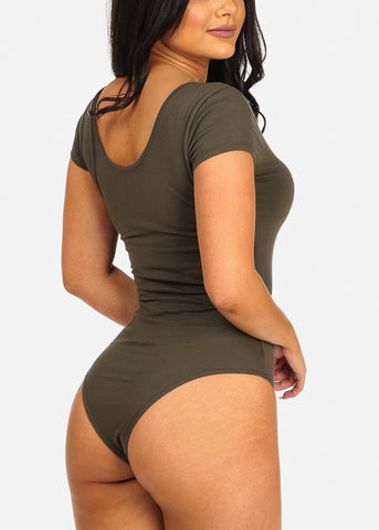Image of Basic Stretchy Olive Bodysuit