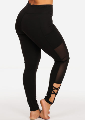 Black Mesh High Rise Activewear Leggings