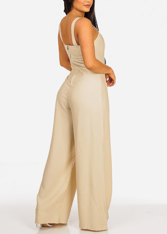 Trendy Sleeveless Lightweight Beige Jumpsuit