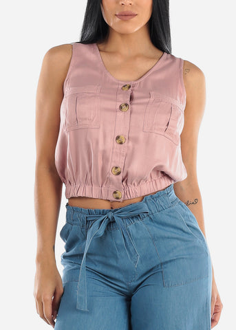 Image of Sleeveless Button Up Rose Top