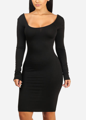 Image of Sexy Stretchy Black Bodycon Dress